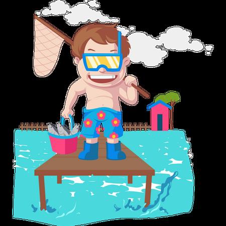 Boys loves fishing Illustration
