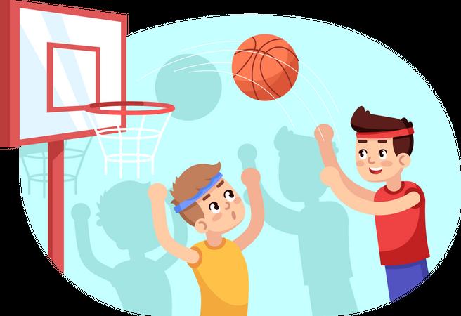 Boys playing basketball Illustration
