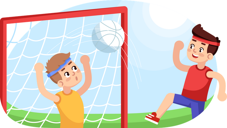 Boys playing football Illustration
