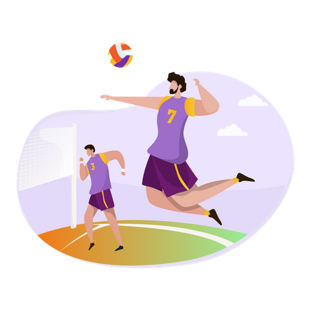 Boys playing volleyball Illustration