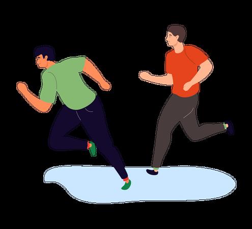 Boys running Illustration