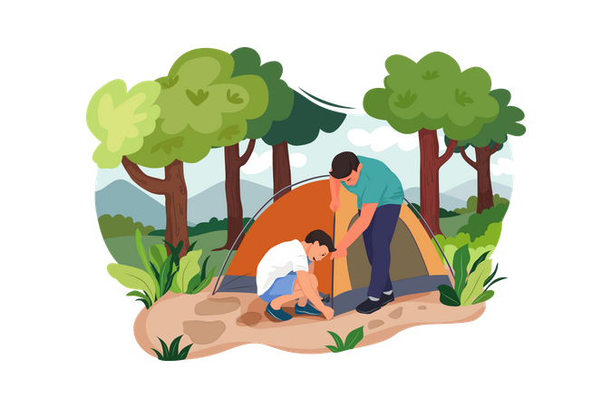 Boys setting tent for camping Illustration