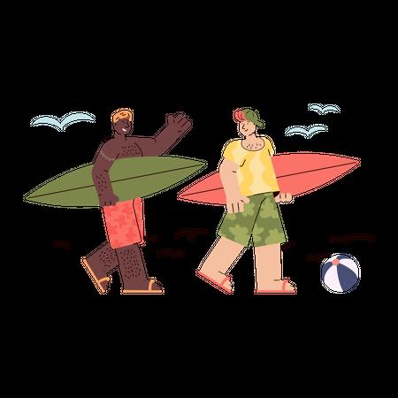 Boys walking on beachside with surfboard Illustration