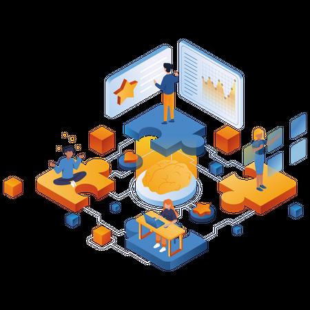 Brainstorming for business success Illustration