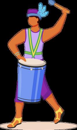 Brazil carnival drummer Illustration