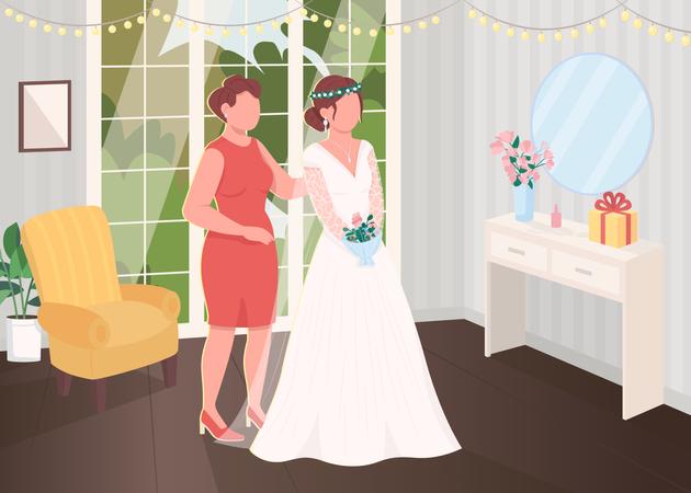 Bride preparation with bridesmaid Illustration