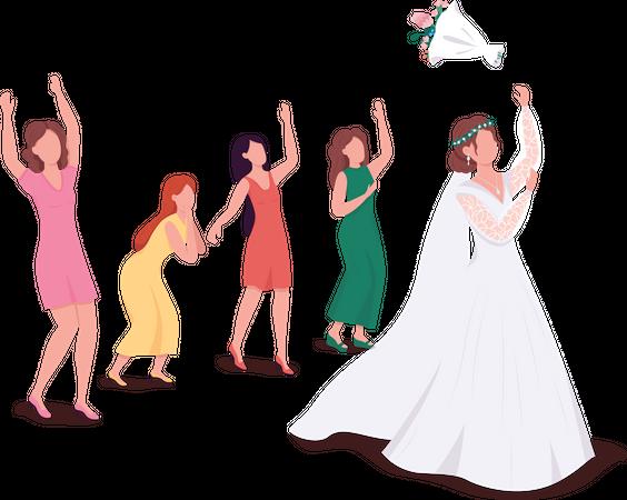 Bride throwing bouquet Illustration
