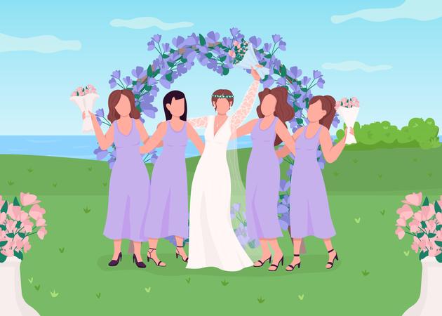 Bride with bridesmaids Illustration