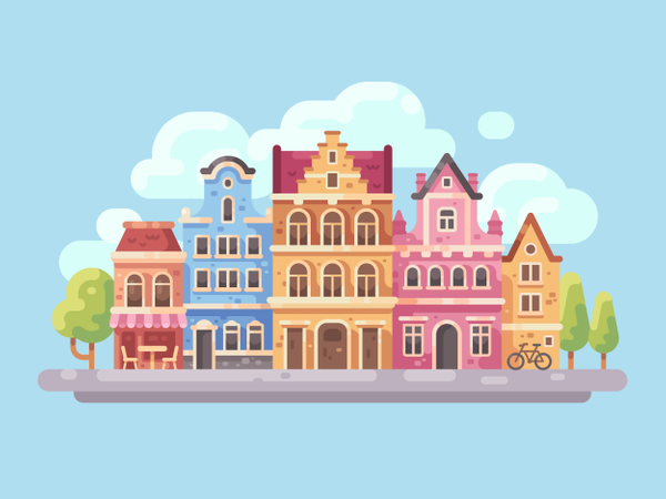 Bright city street with old buildings and cafe Illustration