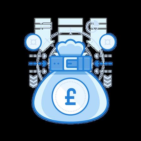 British Pound Bag Illustration