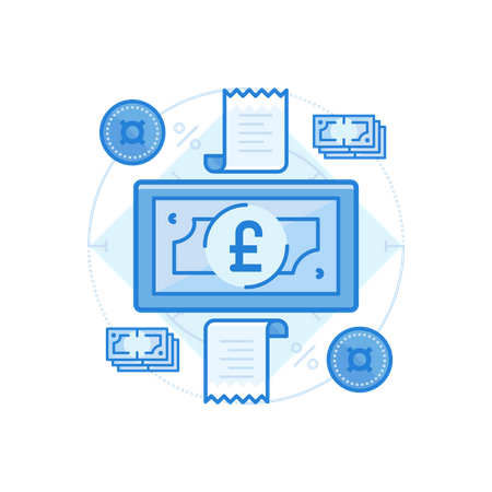 British Pound Cash Illustration