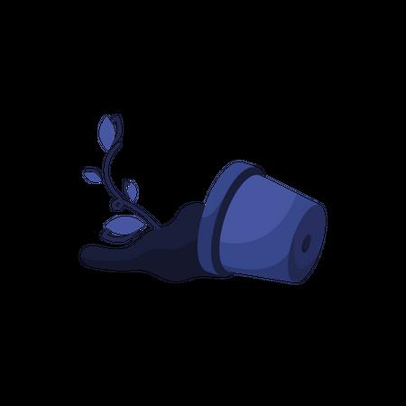 Broken flower pot Illustration
