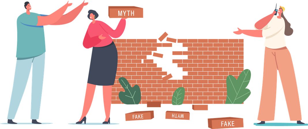 Broken Myths and Facts Wall Illustration
