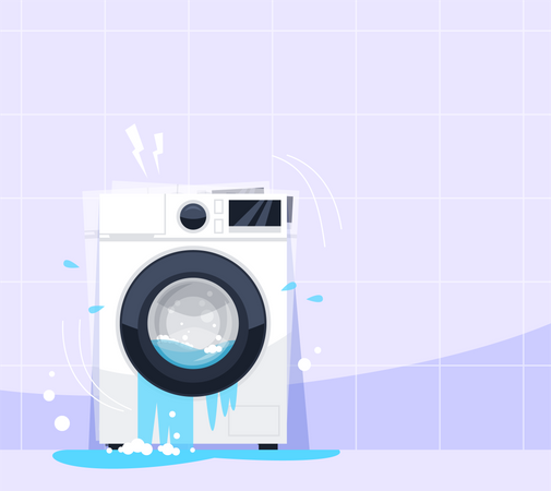 Broken washing machine Illustration