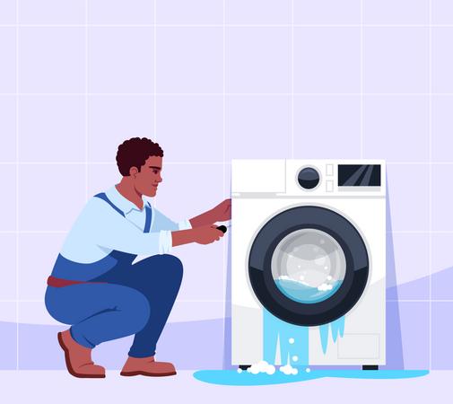 Broken washing machine and professional repairman Illustration