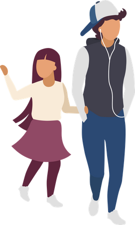 Brother and sister holding hands Illustration