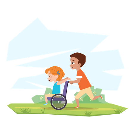Brother playing with Disabled sister Illustration