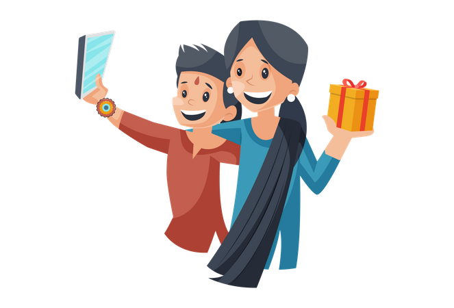 Brother taking selfie after giving gift to sister Illustration