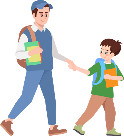 Brothers holding hands and going to school Illustration