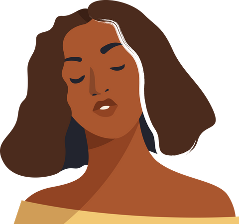 Brown woman close eyes pose Illustration