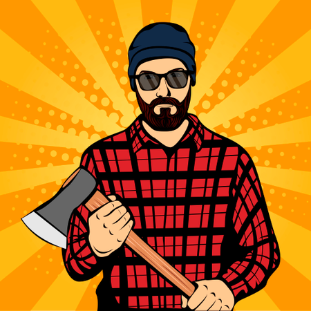 Brutal Hipster Lumberjack with Beard and Axe Illustration