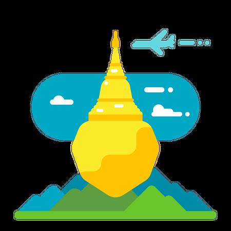 Buddhist pilgrimage Illustration