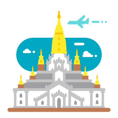 Buddhist temple Illustration