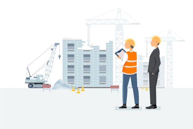Builder and construction worker discussing the status of working Illustration