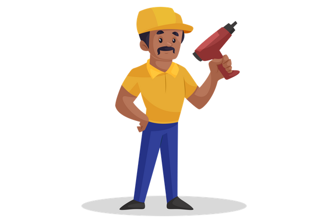 Builder is holding a drill machine in hand Illustration