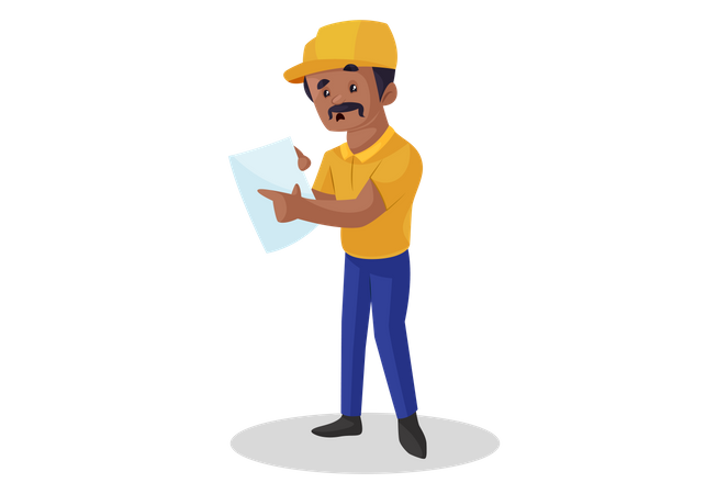 Builder pointing at building plan Illustration