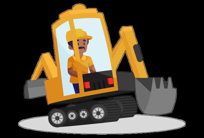 Building worker is sitting in an excavator machine Illustration