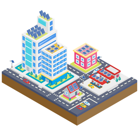 Buildings with solar panel Illustration