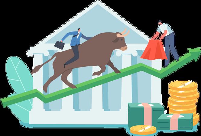 Bullish Stock Market Trading Illustration