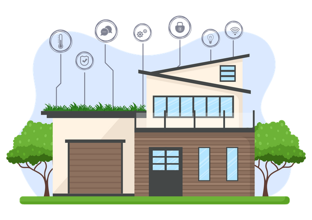 Bungalow with smart equipment Illustration