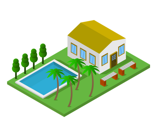 Bungalow with swimming pool Illustration