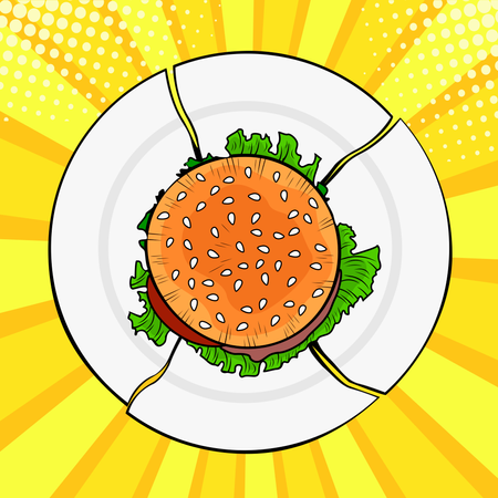 Burger on broken plate, Heavy fast food. Diet and healthy eating. Colorful vector illustration in pop art retro comic style Illustration