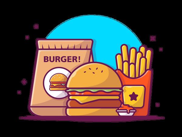 Burger take away Illustration