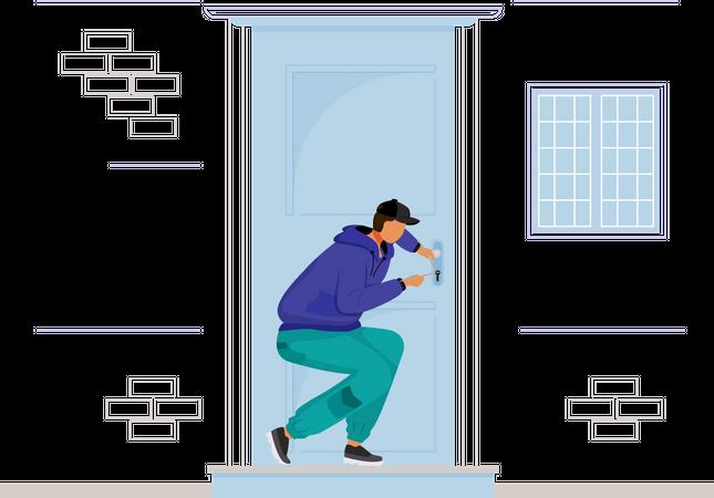 Burglar breaking into house Illustration
