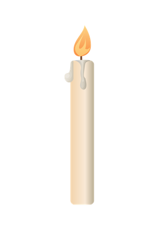 Burning Candle from Paraffin Wax Illustration