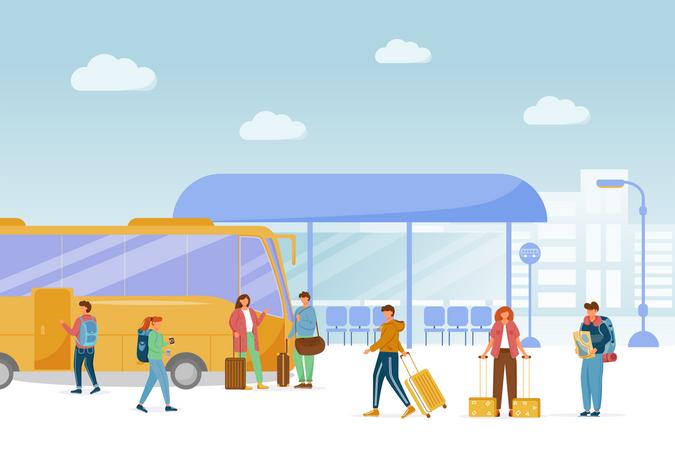 Bus station platform Illustration