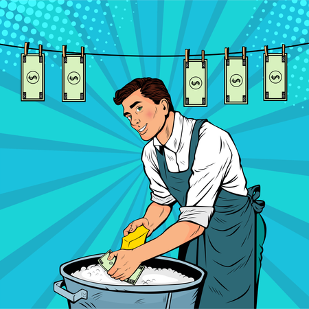 Businesman washes the dollar. Money laundering business concept. Vector illustration in pop art retro comic style Illustration