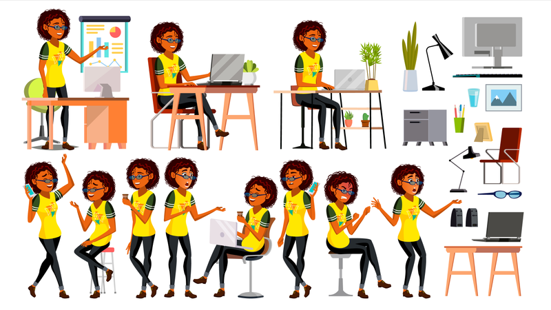 Business African Black Woman Character Illustration