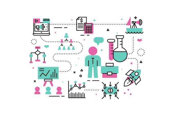 Business analysis line icons illustration Illustration