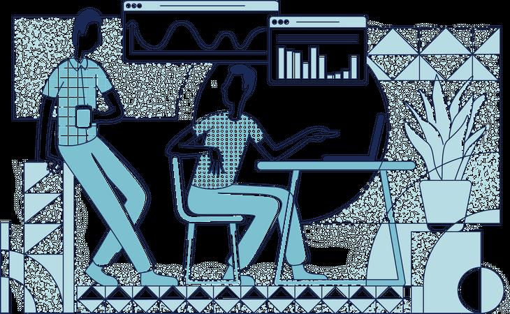 Business analyst explaining business statistics Illustration