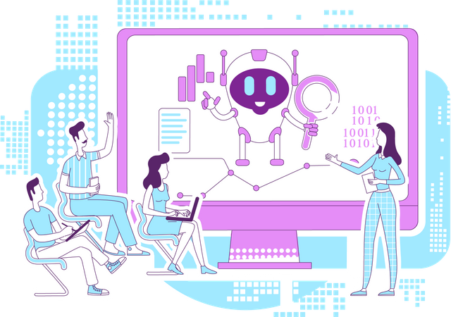 Business analytics bot Illustration