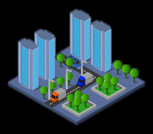 Business buildings Illustration