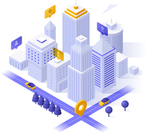 Business buildings and skyscrapers Illustration
