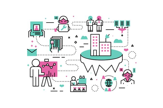 Business Career line icons illustration Illustration