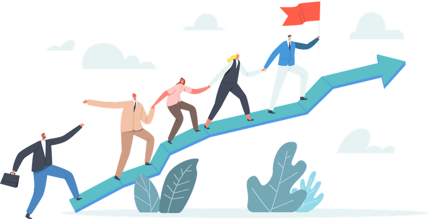 Business Characters Team Climbing at Huge Growing Graph Illustration