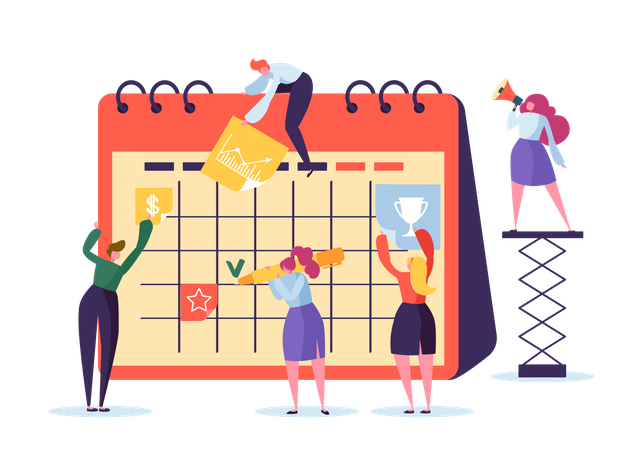 Business Characters Working with Planner Illustration